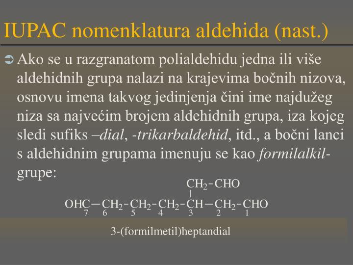 IUPAC nomenklatura aldehida (nast.)