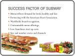 success factor of subway