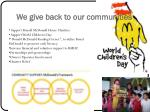 we give back to our communities