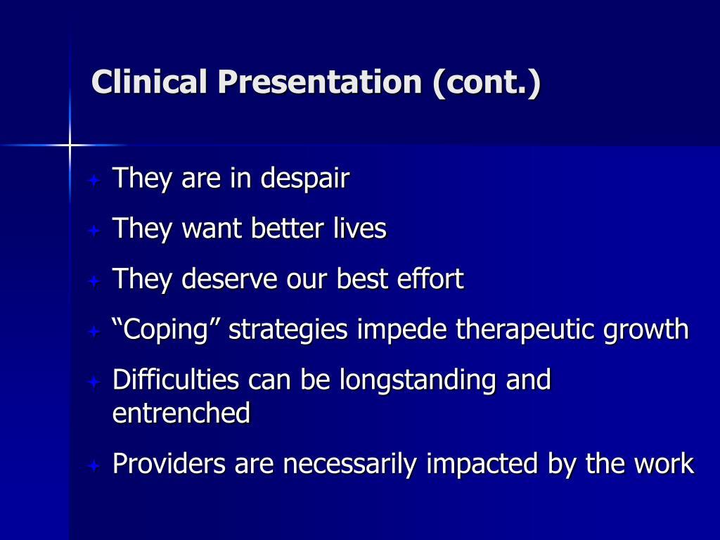 Clinical Presentation (cont.)