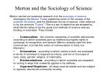 merton and the sociology of science