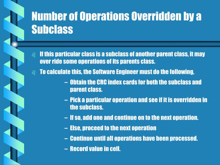 Number of operations overridden by a subclass