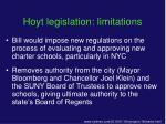 hoyt legislation limitations