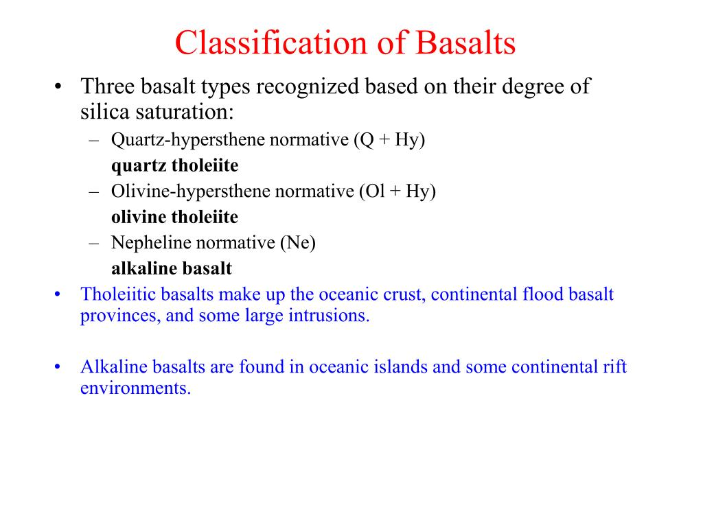 Classification of Basalts