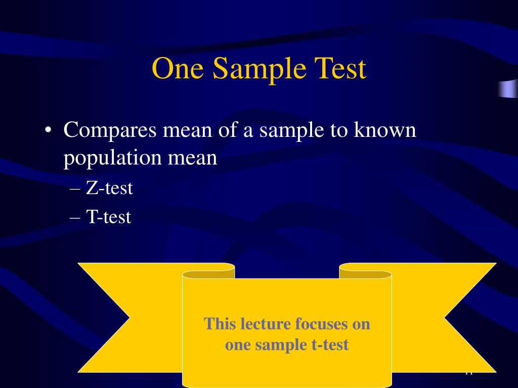 One Sample Test
