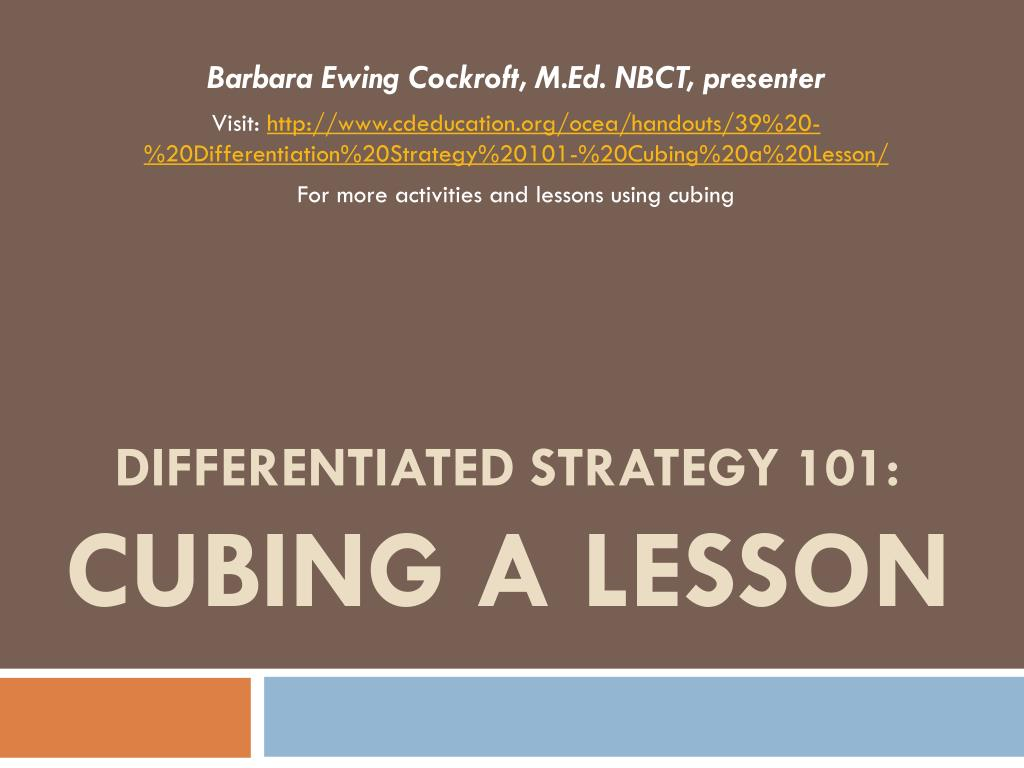 Ppt Differentiated Strategy 101 Cubing A Lesson Powerpoint