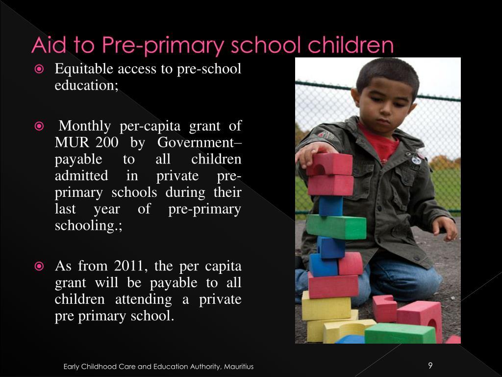 Aid to Pre-primary school children