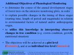 additional objectives of phenological monitoring