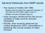 general inferences from amip results