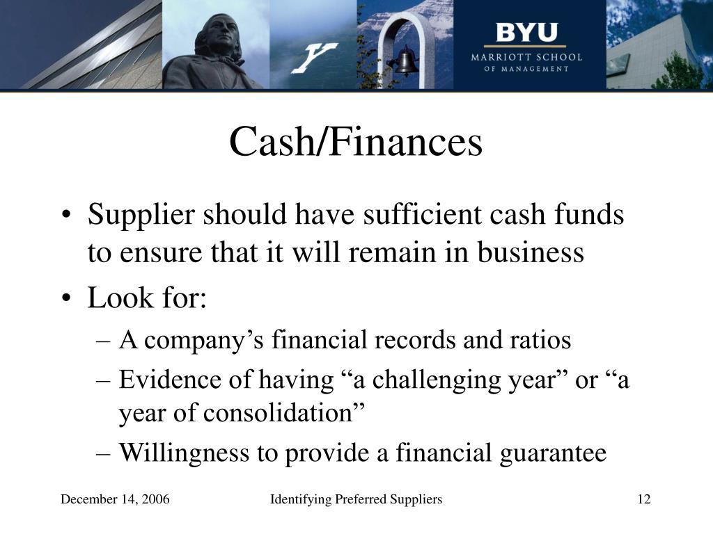 Cash/Finances