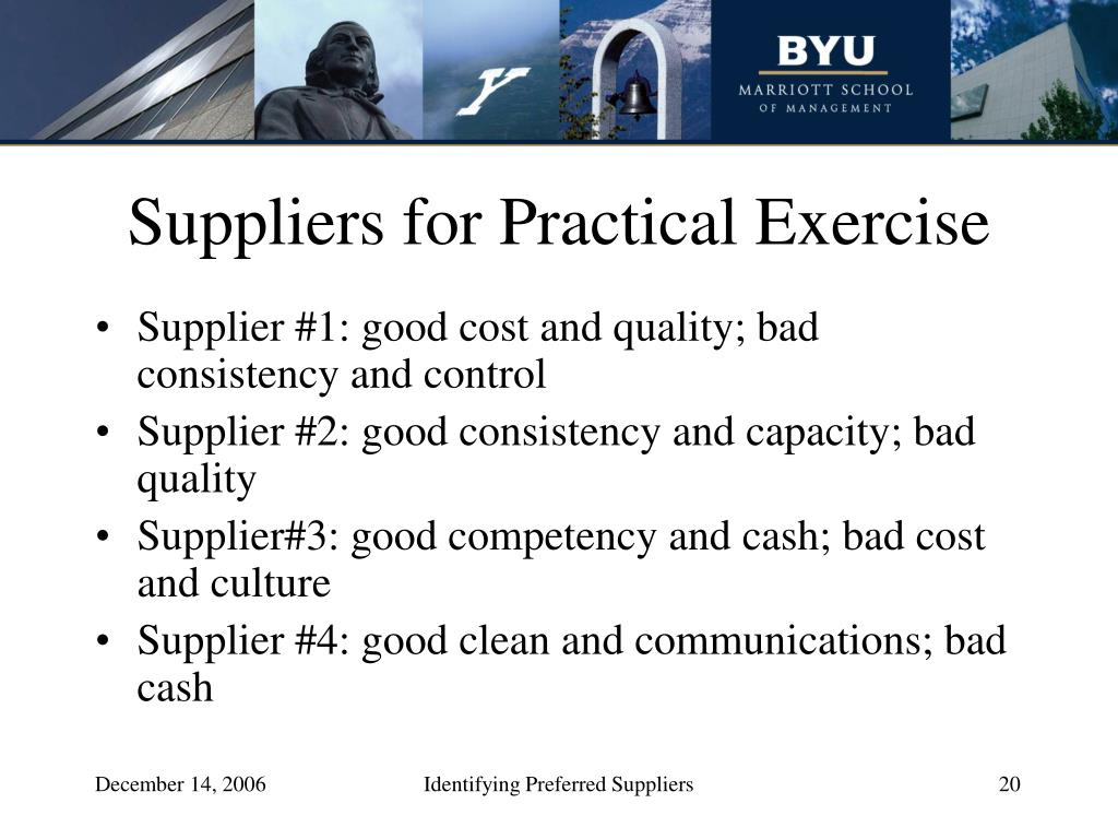Suppliers for Practical Exercise