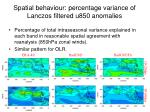 spatial behaviour percentage variance of lanczos filtered u850 anomalies