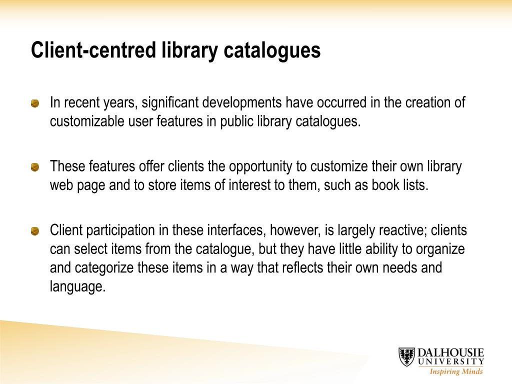 Client-centred library catalogues