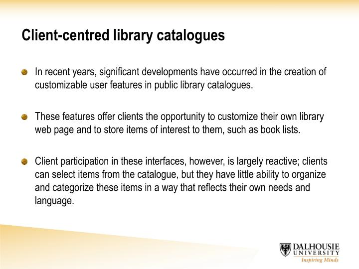 Client centred library catalogues