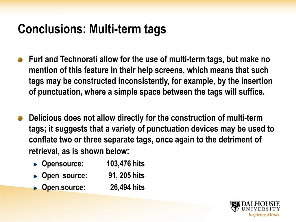 Conclusions: Multi-term tags
