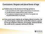 conclusions singular and plural forms of tags