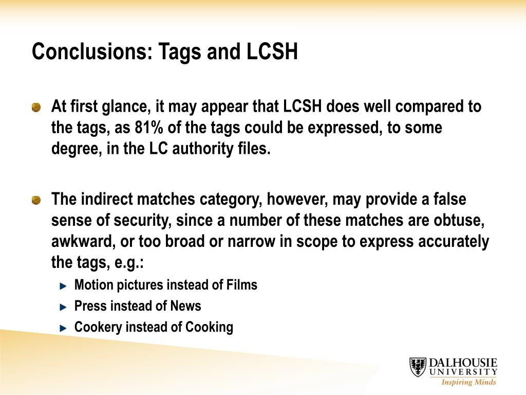 Conclusions: Tags and LCSH