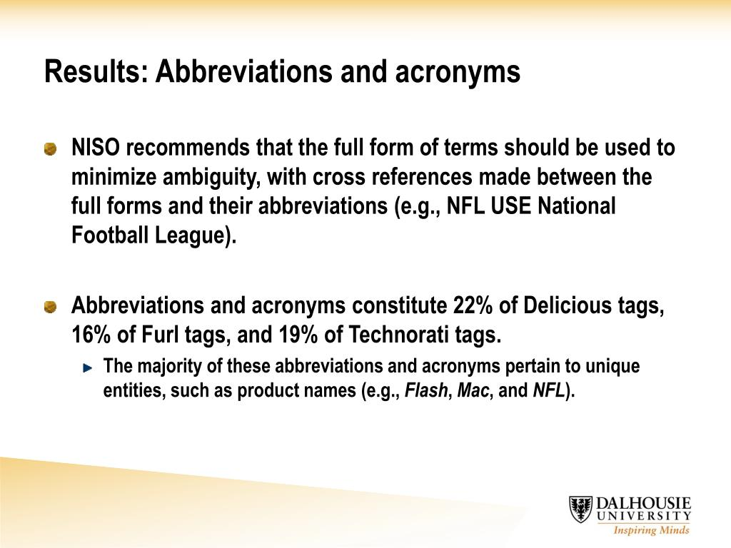 Results: Abbreviations and acronyms