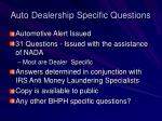 auto dealership specific questions