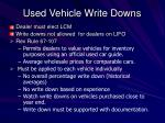 used vehicle write downs