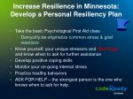 increase resilience in minnesota develop a personal resiliency plan