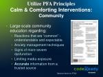 utilize pfa principles calm comforting interventions community