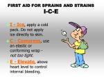 first aid for sprains and strains i c e