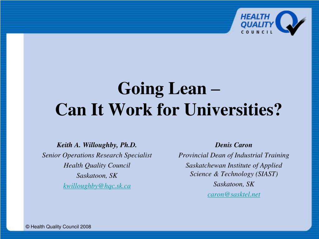 going lean can it work for universities l.