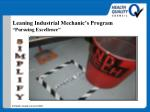 leaning industrial mechanic s program pursuing excellence