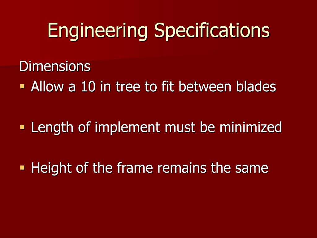 Engineering Specifications