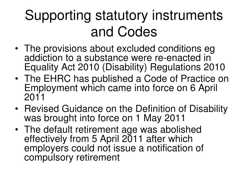 Supporting statutory instruments and Codes