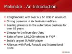 mahindra an introduction