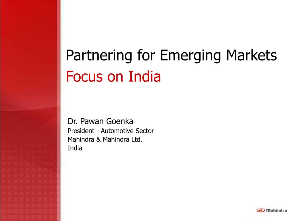 partnering for emerging markets focus on india l.