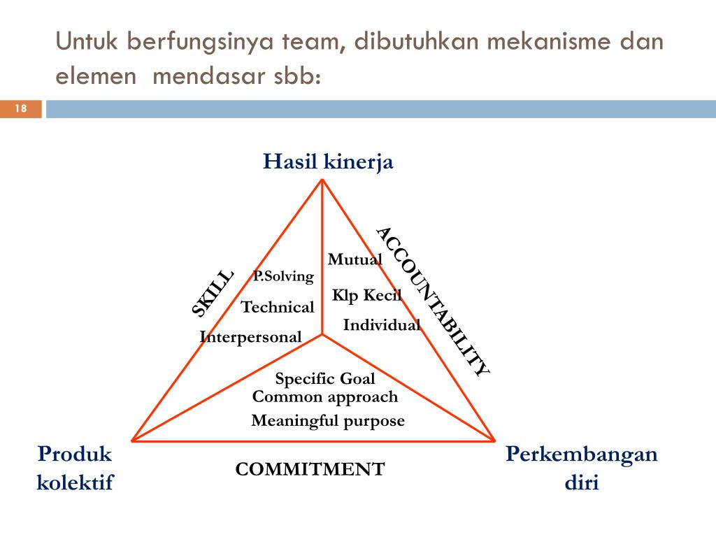 Untuk berfungsinya team, dibutuhkan mekanisme dan elemen  mendasar sbb: