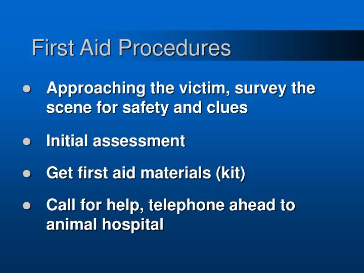 First aid procedures