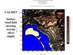 calmet surface wind field showing terrain effect night