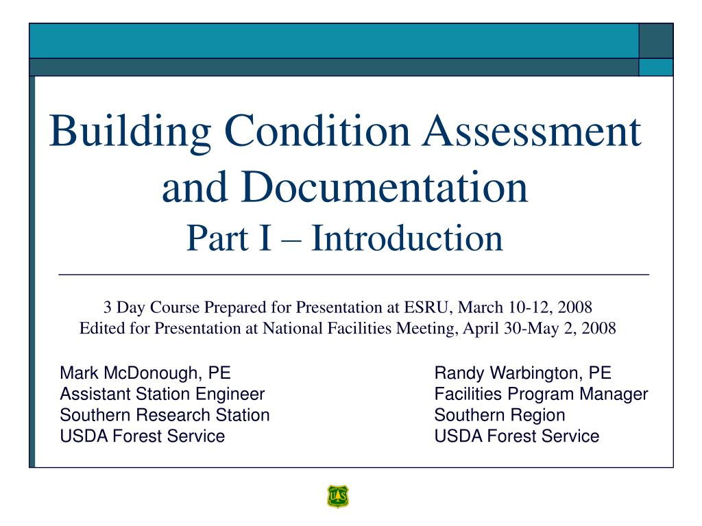 building condition assessment and documentation part i introduction
