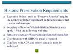 historic preservation requirements