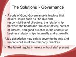 the solutions governance