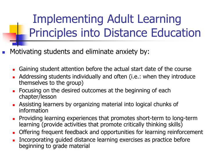 in learning distant motivation Adult