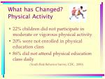 what has changed physical activity