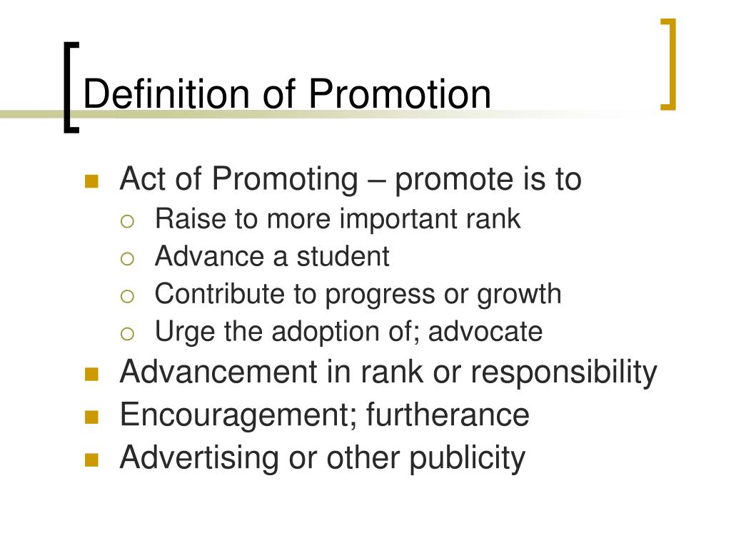 Definition of Promotion