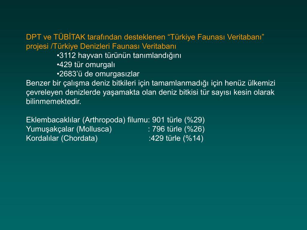 """DPT ve TÜBİTAK tarafından desteklenen """"Türkiye Faunası Veritabanı"""" projesi /Türkiye Denizleri Faunası Veritabanı"""