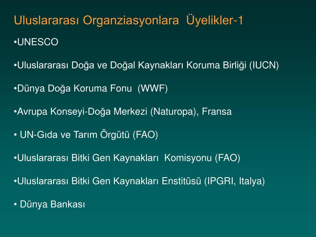Uluslararası Organziasyonlara  Üyelikler-1