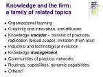 knowledge and the firm a family of related topics