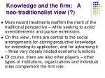 knowledge and the firm a neo traditionalist view