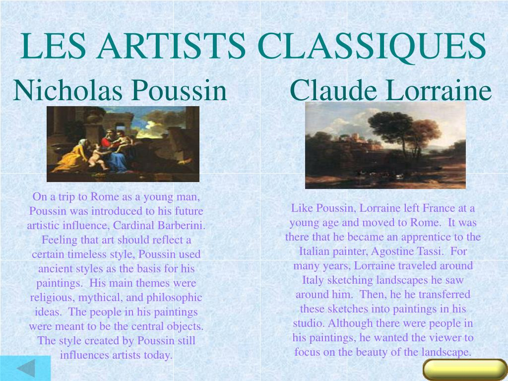 LES ARTISTS CLASSIQUES