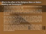 what is the effect of the religious wars on nation building and sovereignty