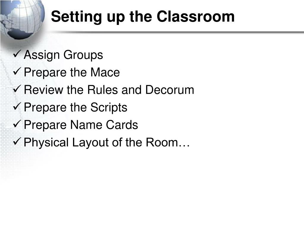 Setting up the Classroom