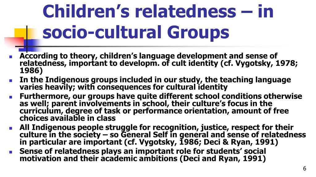 Children's relatedness – in socio-cultural Groups
